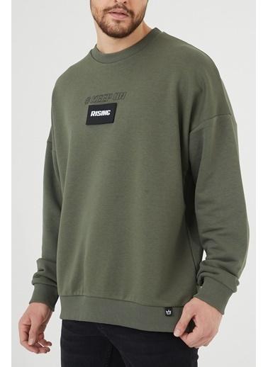 XHAN Haki Baskılı Sweatshirt 1Kxe8-44399-09 Haki